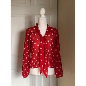 H&M Red and white polka dot blouse.